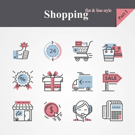 retail sales: Modern Trendy flat and thin line style icons set  with online payment,gift,product delivery,customer support  etc For designers, developers.Outline icon collection for web graphic