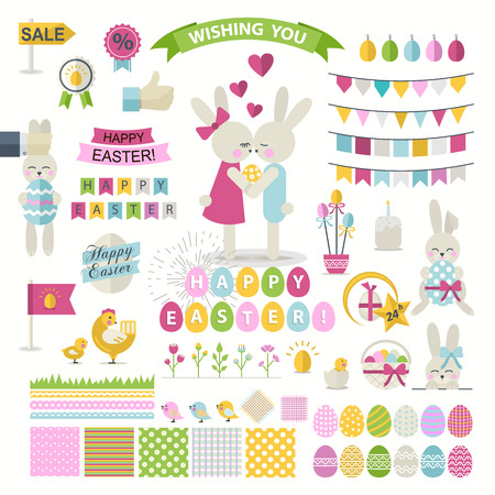 Happy Easter Set.Big Vector collection for easter design. Happy Easter.Easter design elements.Cute Bunnies, chicken, chick,ribbon and other graphic holiday elements in stylish colors.