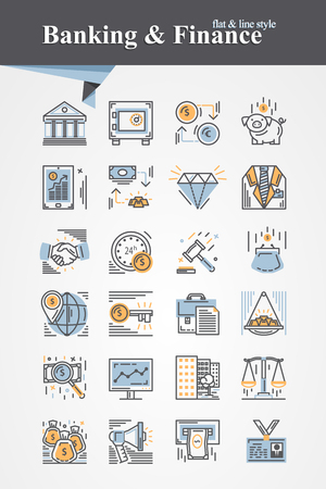 saving bank: Trendy flat and line Banking and Finance icons collection