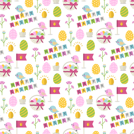 eggs basket: Happy Easter pattern with bird,eggs,basket with eggs,chicken in shell, flower,text Happy Easter on a white background