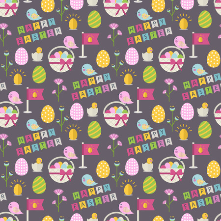 eggs basket: Happy Easter pattern with bird,eggs,basket with eggs,chicken in shell, flower,text Happy Easter on a brown background