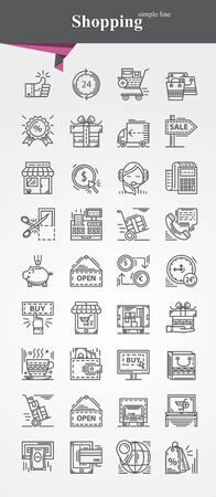 on line shopping: Simple thin line Shopping icons symbol sign collection.