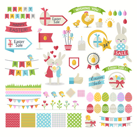 chick: Happy Easter vector Set.Vector collection for easter design. Happy Easter isolated.Easter design elements.Cute Bunnies, chicken, chick,ribbon and other graphic holiday elements in stylish colors.