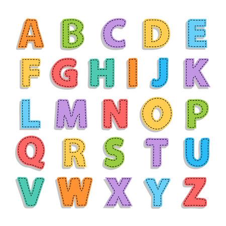 ベクトル抽象的な字幕のアルファベット。アルファベットは、縫い目を吠えます。縫い目とベクトルのアルファベット。白で隔離のアルファベット