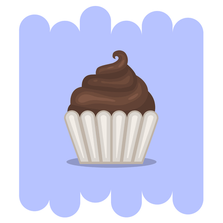 chocolate cupcake: Cartoon Muffin.Cartoon Chocolate muffin icon .Chocolate cupcake vector.Chocolate muffin isolated on  background with shadow.Chocolate cupcake dessert. Vector Chocolate sweet.Chocolate food.