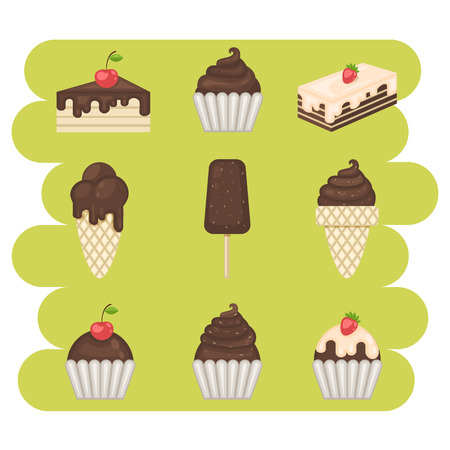 souffle: Dessert.Chocolate sweets icons set.Chocolate sweets vector .Chocolate sweets isolated on white background.Chocolate dessert. Vector Chocolate sweets.Chocolate sweet food