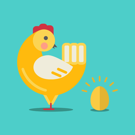 chicken and egg: Cute cartoon chicken and gold egg.Cartoon chicken vector bird flat style.Chicken bird isolated on background.Chicken farm bird.Vector Cute Chicken character farm animal bird.Golden egg