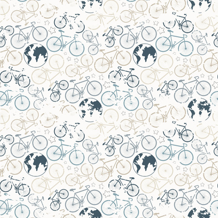 Bicycle grunge seamless pattern.Vector seamless bicycle grunge pattern.Cycle racing.Travel around the world on a bicycle