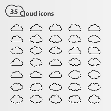 thirty five: Big vector set of thirty five cloud shape White cloud shape,black line cloud shape,black cloud shape,cloud icons, sign for web and app, for cloud computing and so on, isolated on a white background