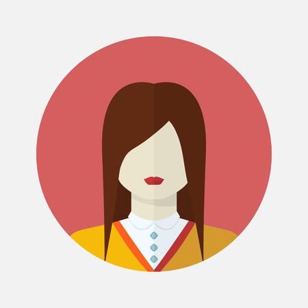 appearance: Vector female avatar icon in flat style slavic nationality.Vector woman slavic nationality.Women user avatar .Female vector icon.Slavic appearance female avatar vector.Slavic type of appearance female