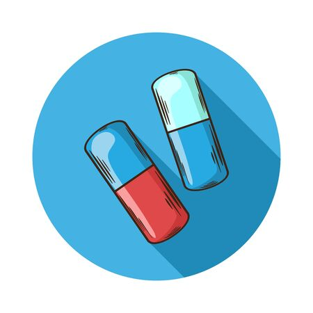capsules: Capsules icon.Vector Capsules icon isolated with shadow.Hand draw Capsules vector.Vector Capsules icon isolated on background with shadow.Gelatin, paper or other lightweight shell for some drugs.Pill Illustration