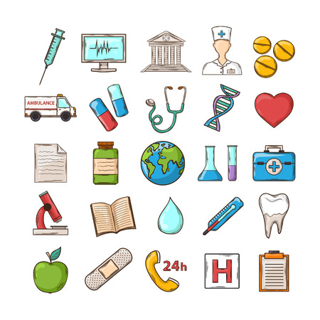 medical device: Vector Health care icons  set in flat style.Vector Medical device icons set.Vector medical icons.Medical icons isolated on a white background