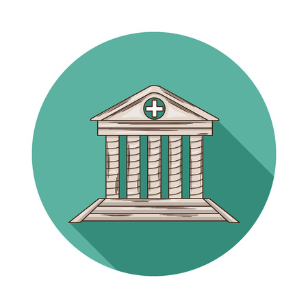Hospital icon.Vector Hospital icon isolated with shadow.Hand draw Hospital vector.Hospital vector icon isolated.An institution providing medical and surgical treatment and nursing care for sick people