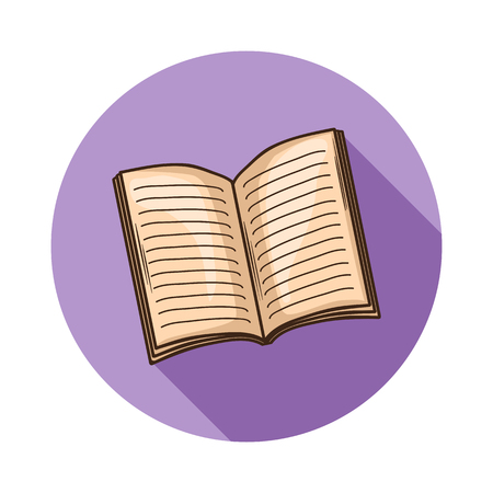 open magazine: Open Book or magazine icon.Vector open book icon isolated with shadow.Hand draw book vector.Open book,magazine vector icon isolated.
