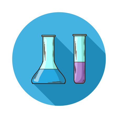 long neck: Laboratory flasks icon.Vector Laboratory flasks icon isolated with shadow.Hand draw Laboratory flasks vector.Medical device of flasks. A glass vessel with a long neck for the chemical works. Illustration