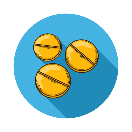 icona: Pills icon.Vector Pills icon isolated with shadow.Hand draw Pills vector.Medical Pills icon.A small round mass of solid medicine to be swallowed whole.Vector pills icon flat isolated on background