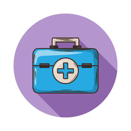 the attribute: Medical bag icon.Vector Medical bag icon isolated with shadow.Hand draw Medical bag vector.Medical bag vector icon isolated.Medical bag for storage of medicines and health care.Doctor Attribute