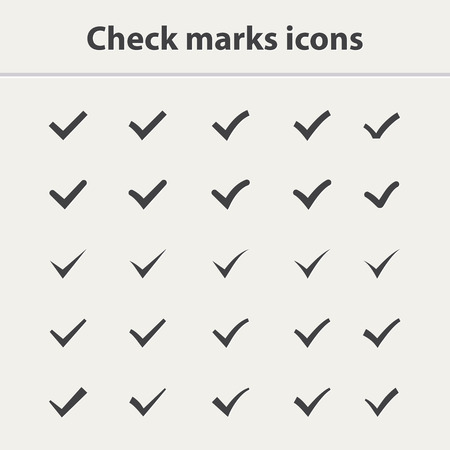 confirmation: Tick icon set.Check marks icon vector set.Set of  different black vector ticks or check marks  in color square confirmation acceptance positive passed voting agreement true or completion of tasks