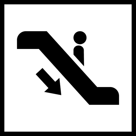 moving down: Escalator staircase icon.Vector Escalator staircase icon.Escalator staircase moving down icon isolated.Elevator moving stairs down symbol,sign Illustration