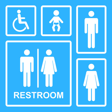 baby toilet: Restroom icons.Vector restroom icons for men,women,lady,man,baby dummy,nipple,child and disability on square.WC icons isolated.Toilet vector icons set.Vector restroom icons isolated.Vector toilet sign