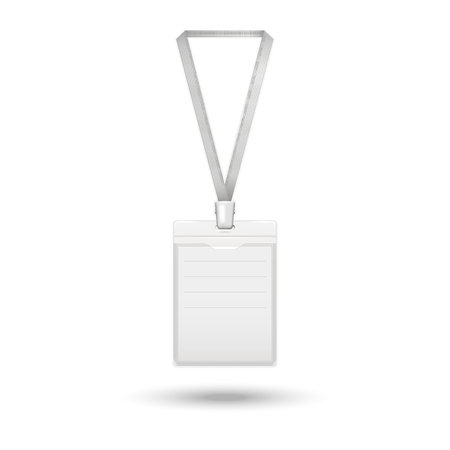 cardholder: Badge icon.Vector realistic identification card  on the ribbon isolated on a white background with shadow