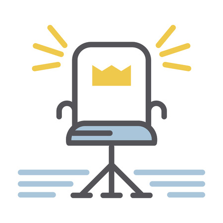 ergonomics: Office chair icon vector.Vector illustration of thin line icon office armchair with the crown isolated on a white background. Be the boss
