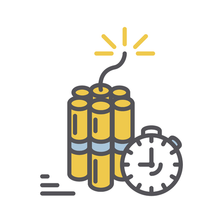 detonation: Dynamite icon.Vector thin line Bomb with clock timer icon isolated on a white background