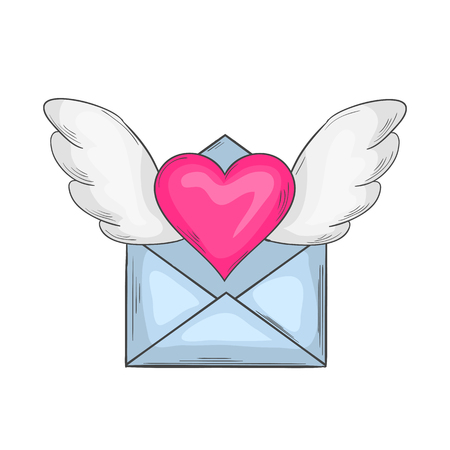 Email love.Cartoon love letter icon vector  with heart on the wings isolated on a white background