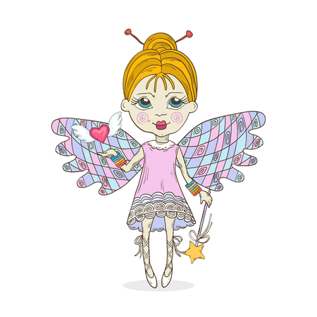 Cut cartoon fairy girl vector illustration.Fairy-tale cute characters isolated on a white background Illustration