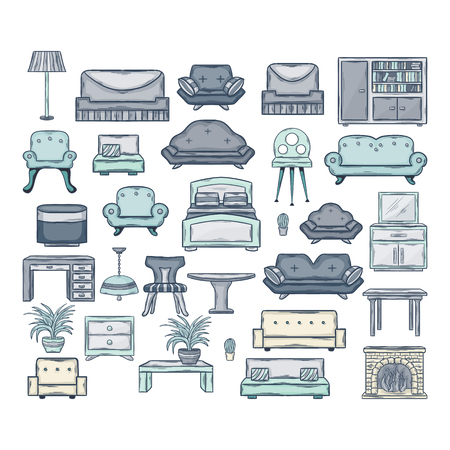mid century: Furniture icon set.Vector Icon set of sofas and armchairs in doddle style with shadow isolated on a white background.