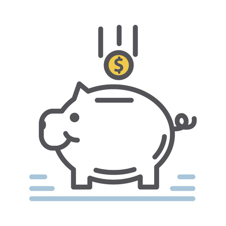 Vector trendy thin line Piggy bank icon isolated on a white background.Deposits, savings.
