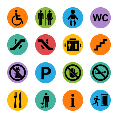 Vector public basic icons set isolated on a color square