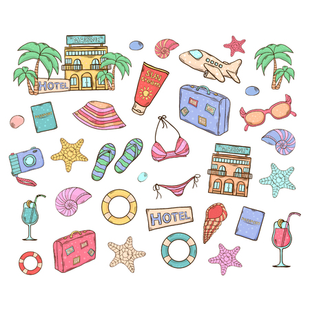 Summer vacation vector set.With themed elements design swimsuit,camera, ball, palm, cocktail, shell, lifebuoy bag hat sunscreen sunglasses starfish