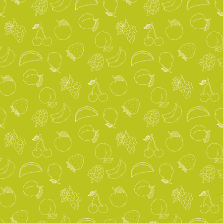 Fruit vector background illustration isolated on a green background.Summer fruit pattern hand draw in doodle style