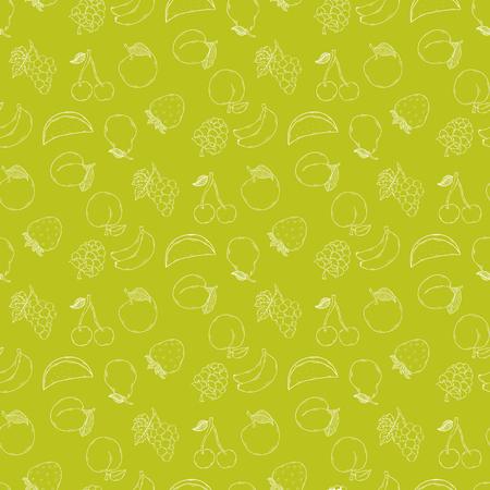 vecteur Fruit fond illustration isolé sur un background.Summer fruits tirage vert motif de la main dans le style de griffonnage