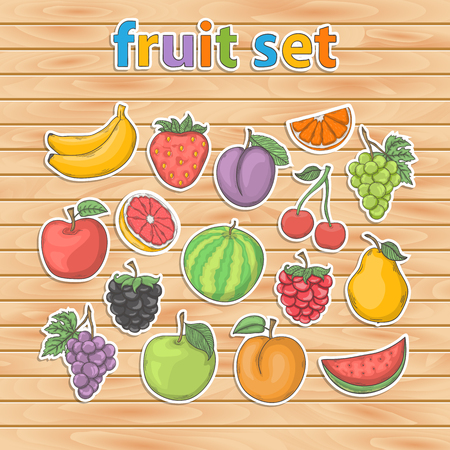 Fruit set .Sammer fruit and berry sticker vector collection isolated with shadow Illustration