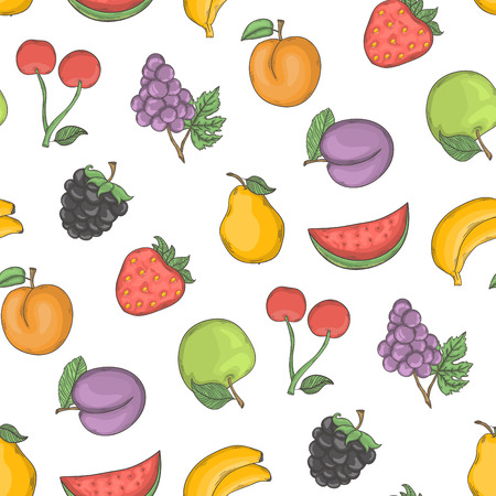 Fruit vector illustration background.Vector color fruits seamless pattern hand draw in doodle style isolated on a white background