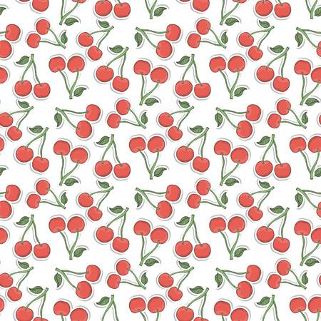 cherry pattern: Cherry pattern vector on a white background hand draw