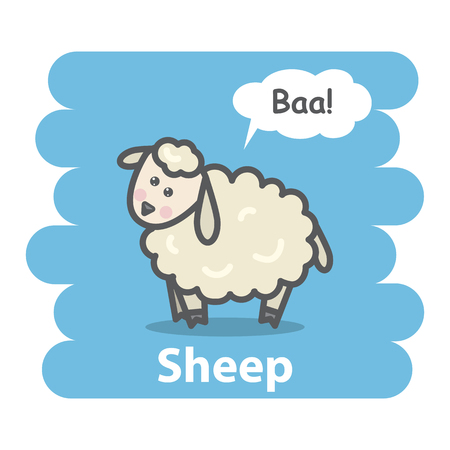 baa: Sheep vector illustration.Cartoon cute farm animal sheep talking Baa in speech bubble hand draw isolated