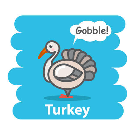 gobble: Cute turkey vector illustration on isolated background.Cartoon turkey farm bird animal speak Gobble on a speech bubble.From the series what the say animals Illustration