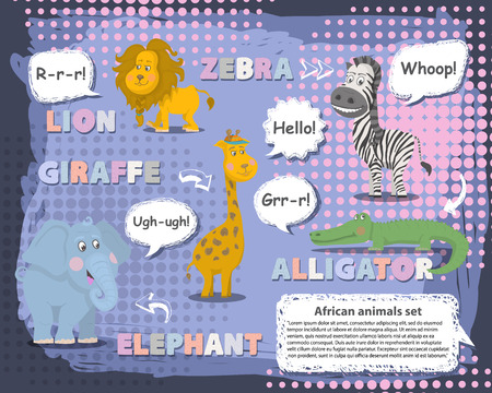 leon de dibujos animados: animales africanos conjunto con la burbuja que habla, la voz y el carácter name.Vector animales .WILD animales de dibujos animados lindo colecciones de vectores. Los animales del zoológico set mamífero plana vector illustration.African animals.Wildlife