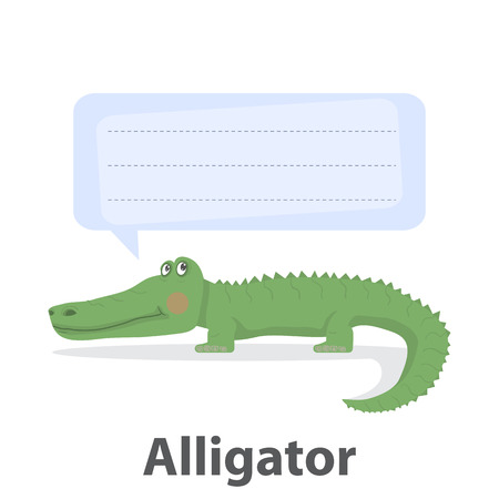 Green alligator vector illustration.Cartoon reptile vector .Danger animal isolated on a white backdrop with template speech bubble.Zoo animal.African alligator animal