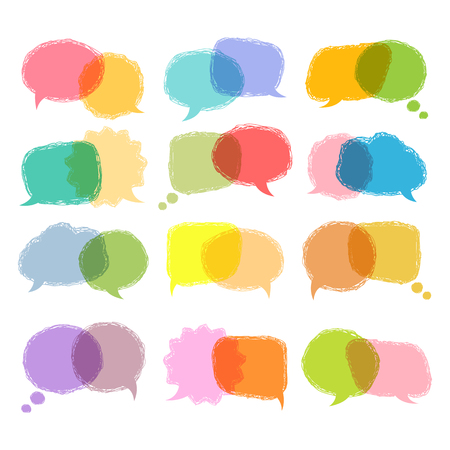 Communication sign.Talking bubble colorful set isolated on a white background.Speech bubbles vector hand draw design.Color speech bubble.Speech bubble template for a message,think so etc. Over white