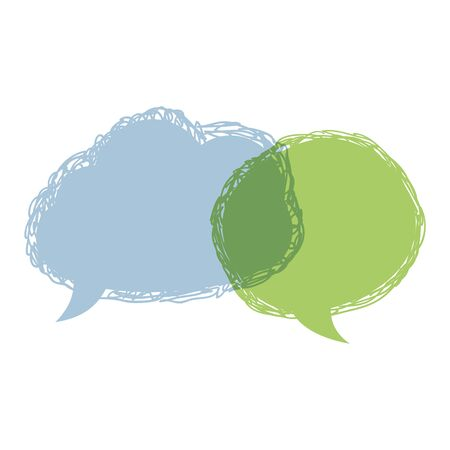 Speech bubbles.Vector talking bubble hand draw blue and green isolated on a white background doodle communication sign think symbol