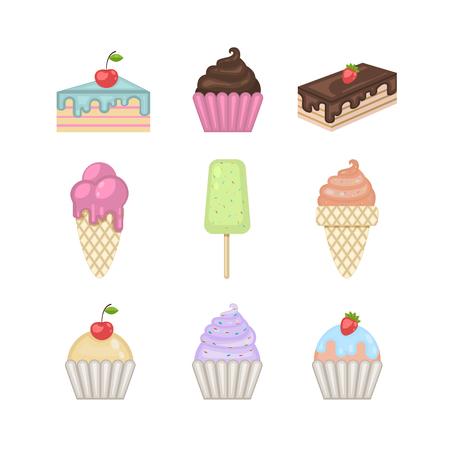 Sweets set.Vector ice cream,cupcake,cake,pie