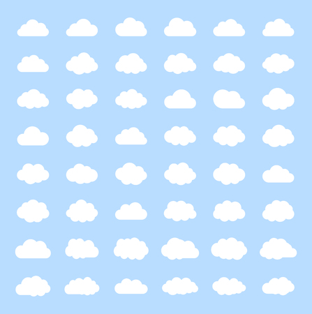 Big vector set white cloud shapes, cloud icons , cloud computing, Cloud on a blue sky.Good weather forecast.Flat style vector illustration. Ilustrace