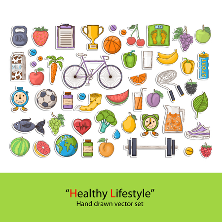 Healthy Lifestyle set vector illustration design.