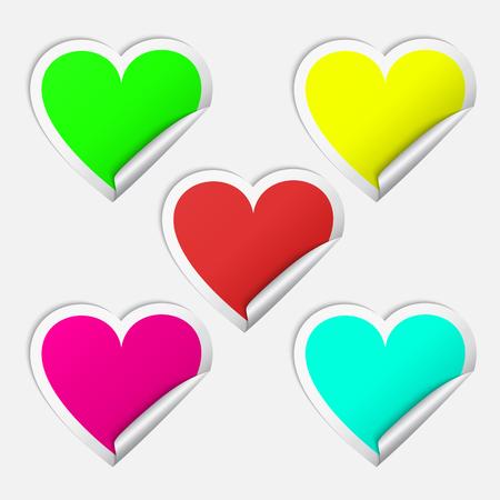 Heart realistic sticker set vector illustration. Illustration