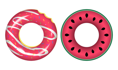 Swim rings icons. Rubber rings isolated on white background.