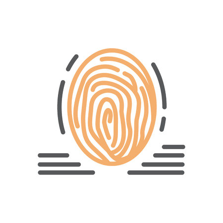 Fingerprint icon line vector isolated Illustration
